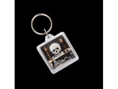 """Clauer quadrat amb un detall de el quadre """"Le miroir de la mort""""."""