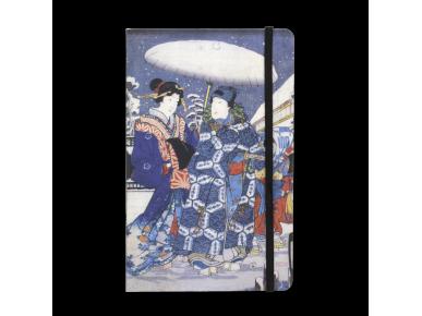 carnet dont la couverture représente un détail d'une estampe de l'artiste japonais Kunisada.