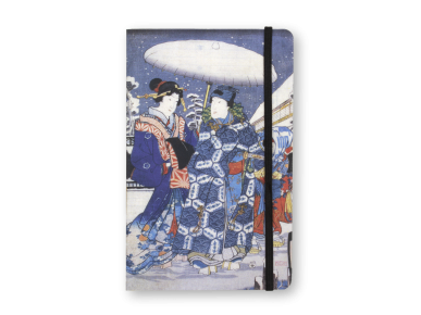 The cover of the notebook shows a detail of a print by the Japanese artist Kunisada.