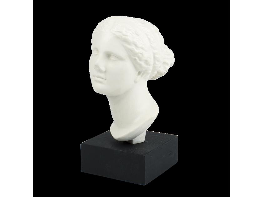 Cabeza de una estatua de Venus sobre una base negra