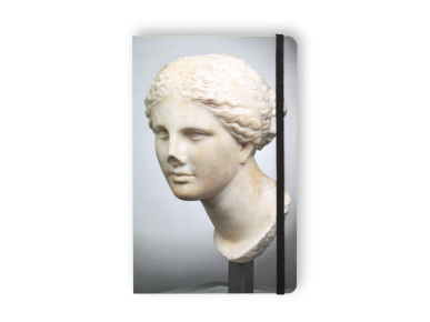 carnet vu de face avec la tête d'une statue de Vénus imprimée sur la couverture