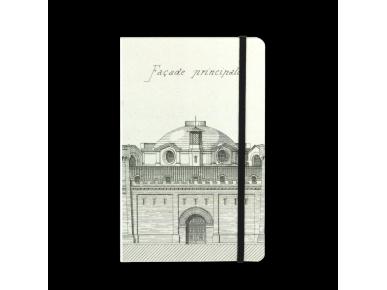 Cuaderno visto de frente con un boceto de la fachada del Castelet impreso en la tapa