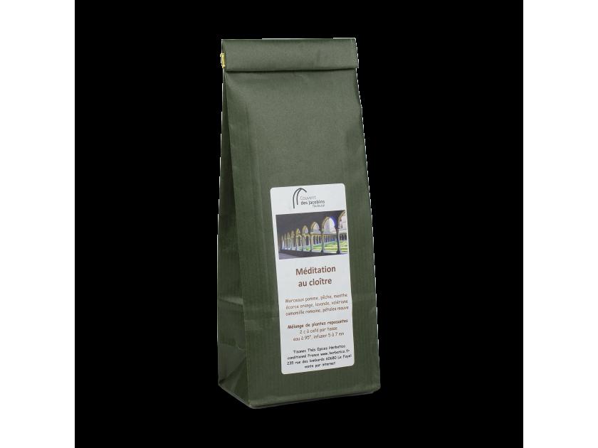 paquete verde de té de hierbas con una etiqueta y el nombre Couvent des Jacobins Toulouse