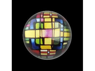 petjapapers de vidre vist des de dalt amb un vitrall en el seu interior