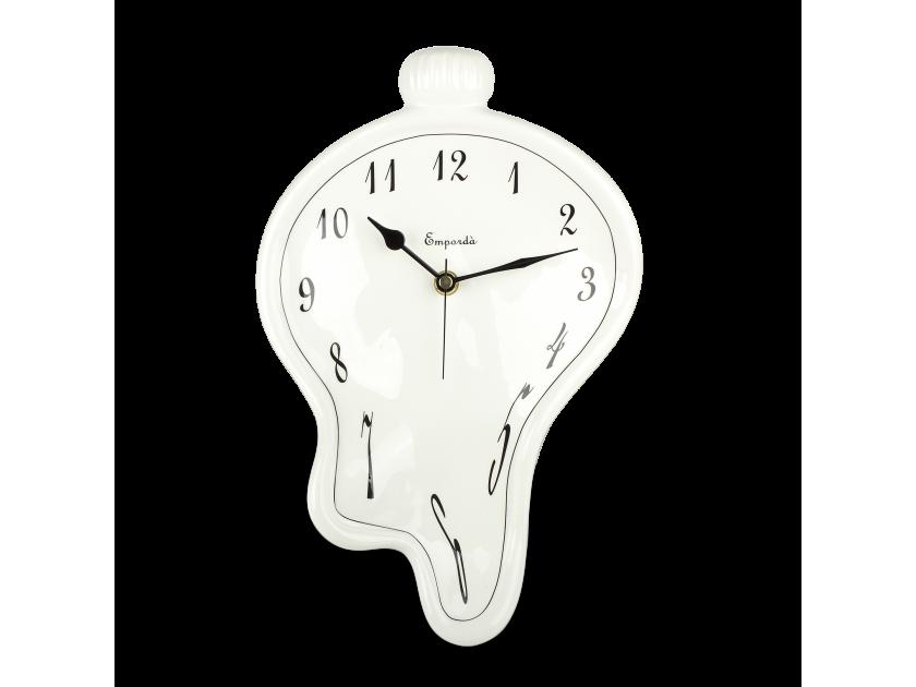 Black and white enamelled ceramic clock