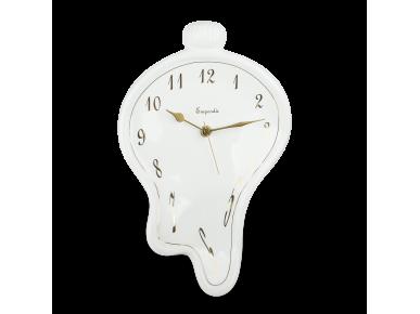 Reloj de cerámica esmaltada en blanco y dorado