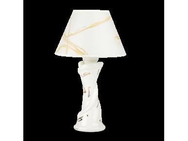 White and gold enamelled ceramic desk lamp