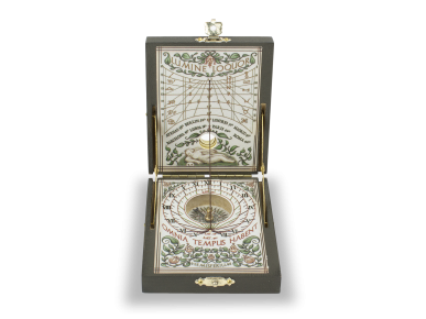Sundial displayed in an open case