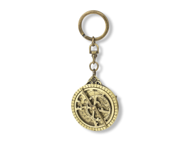 gilded metal keyring featuring a mini peripheral astrolabe