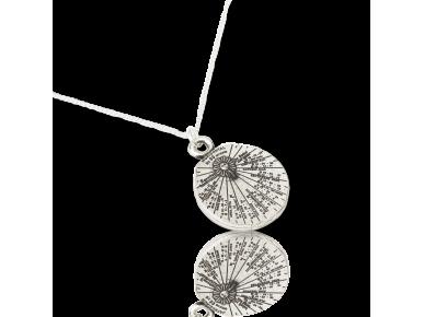 penjoll amb forma de petit rellotge de sol platejat