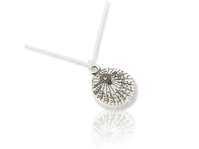 small silver-plated sundial-shaped pendant