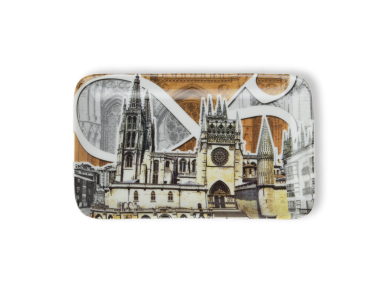 plateau décoré avec une illustration de la cathédrale de Burgos