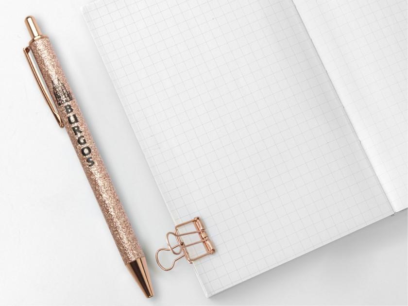 bolígrafo cubierto de purpurina rosa