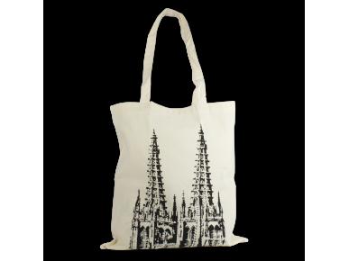 bossa de tela de color natural amb il·lustració negra de la catedral de Burgos
