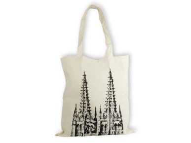 natural coloured tote bag with a black illustration of Burgos cathedral