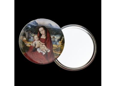 espejo de bolsillo redondo visto por detrás y por delante, ilustrado con una Virgen con el Niño