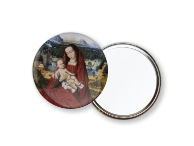 round pocket mirror seen from the back and front, illustrated with a Virgin and Child