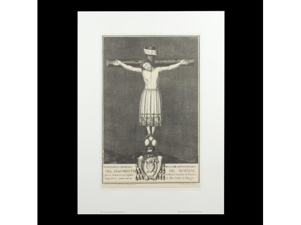 grabado de un cristo en la cruz