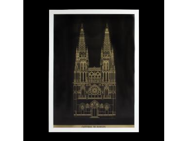 cartell que representa la façana principal de la catedral de burgos