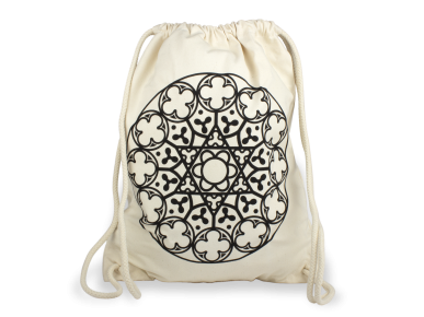 natural fabric backpack with drawstring closure, with a black printed rose window