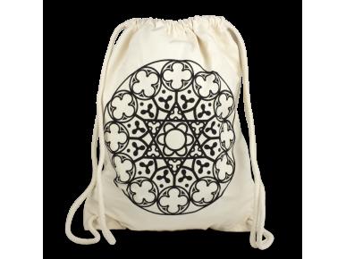 mochila de tejido natural con cierre de cordón, con un rosetón estampado en negro