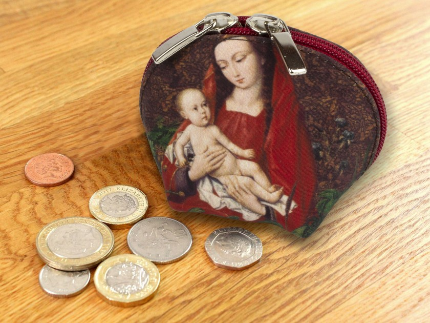 fabric purse decorated with an illustration of a virgin and child