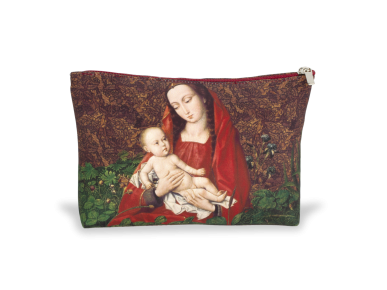 fabric wash bag decorated with an illustration of a virgin and child