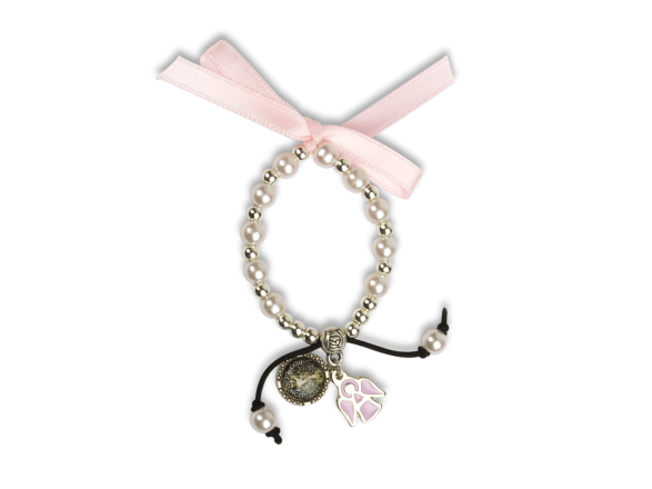 baby bracelet with pink ribbon