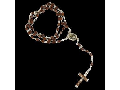 rosario con granos de madera oscura