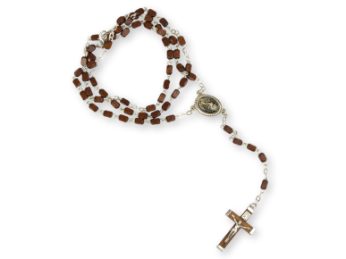 rosary with dark wooden beads
