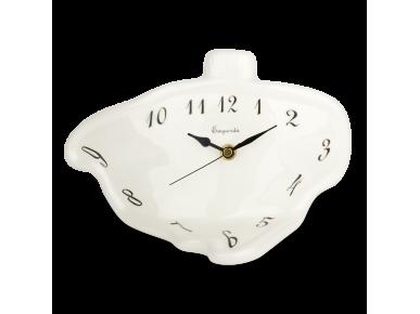 Black and white enamelled ceramic desk clock