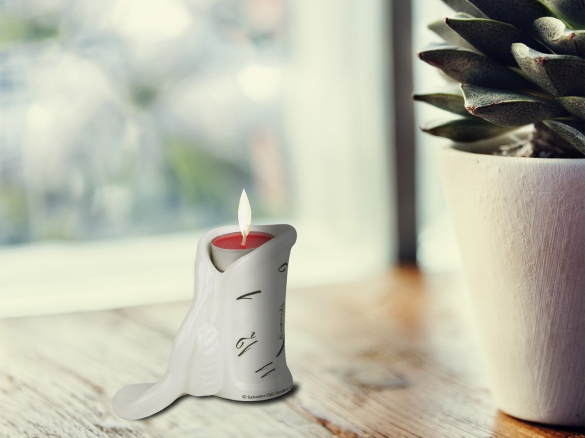 Black and white enamelled ceramic Candle holder with a candle
