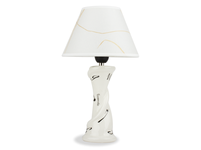 Black and white enamelled ceramic desk lamp