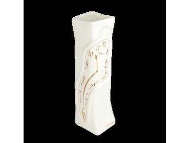 Jarrón de cerámica esmaltada en blanco y oro