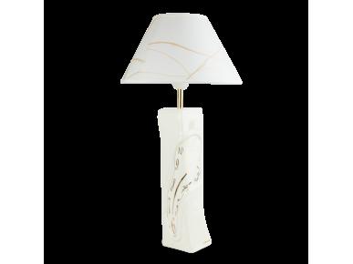 Lampe de bureau en céramique émaillée en blanc et or
