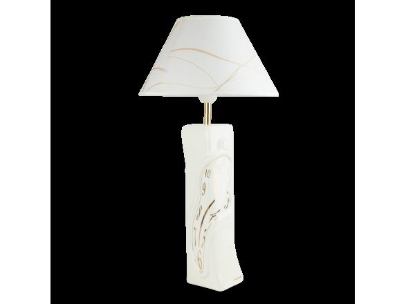 Lámpara de mesa de cerámica esmaltada en blanco y oro