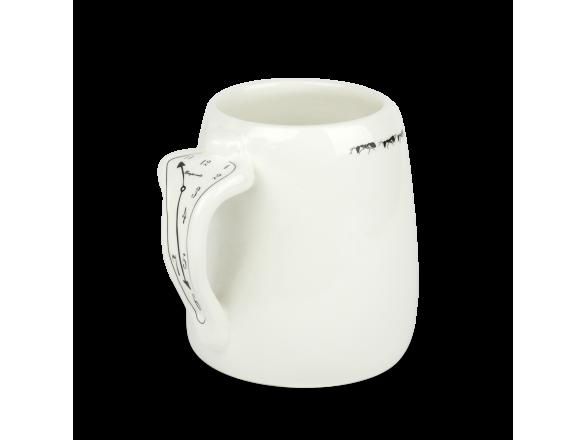Taza grande de cerámica esmaltada en blanco y negro