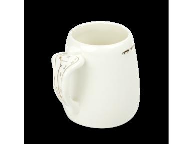 Taza grande de cerámica esmaltada en blanco y oro