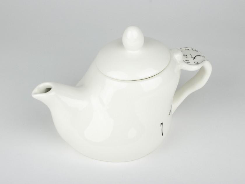 Tetera de cerámica esmaltada en blanco y negro