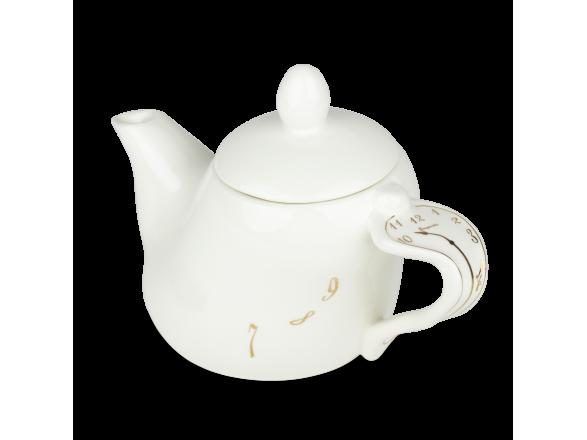 Tetera de cerámica esmaltada en blanco y oro