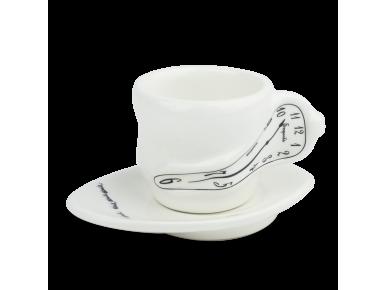Taza de café y platillo de cerámica esmaltada en blanco y negro