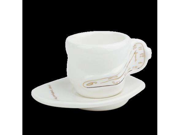 Taza de café y platillo de cerámica esmaltada en blanco y oro