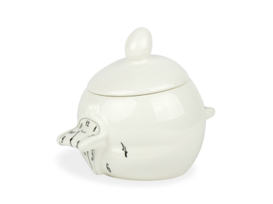 Azucarero de cerámica esmaltada en blanco y negro