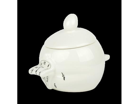 Sucrier en céramique émaillé en noir et blanc