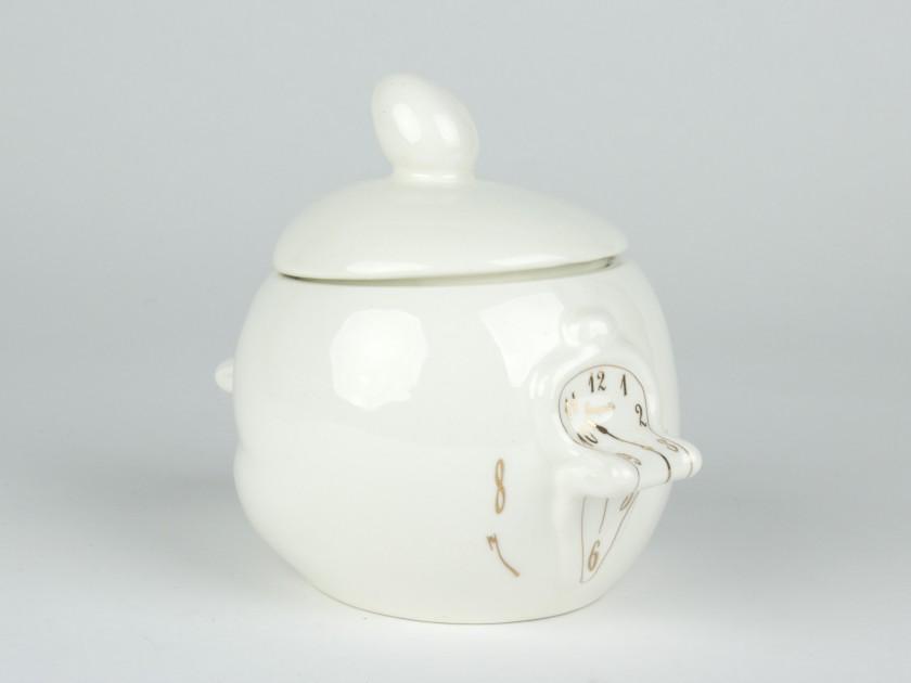 Azucarero de cerámica esmaltada en blanco y oro