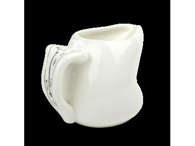 Jarrita de leche de cerámica esmaltada en blanco y negro
