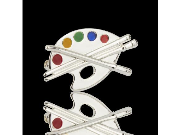 Broche de plata y esmalte en forma de paleta de artista