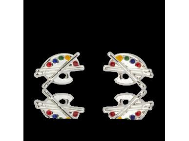 Silvery Palette-shaped Earrings