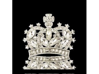 Broche en forma de corona plateada con cristales transparentes