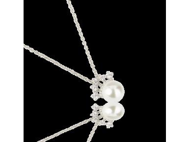 Colgante con una perla de imitación rematado con una pequeña corona plateada engastada con cristales transparentes